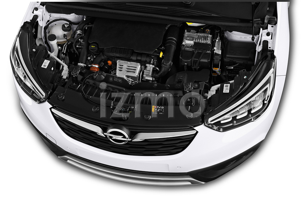 Car stock 2018 Opel Crossland X Innovation 5 Door SUV engine high angle detail view