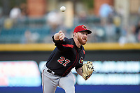 Rochester Red Wings starting pitcher Zack Littell (27) delivers a pitch to the plate against the Charlotte Knights at BB&T BallPark on May 14, 2019 in Charlotte, North Carolina. The Knights defeated the Red Wings 13-7. (Brian Westerholt/Four Seam Images)