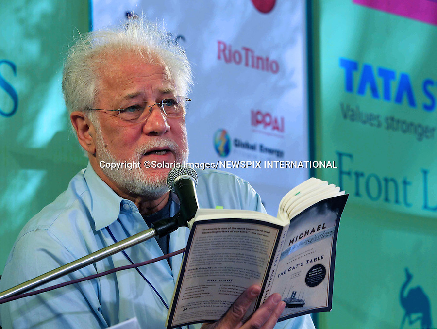 """Jaipur,India-20/01/2012: JAIPUR LITERATURE FESTIVAL 2012.Michael Ondaatje, Sri Lankan-born Canadian novelist and poet reads from his book on the opening day of the Jaipur Literature festival in Jaipur, India..Mandatory Photo Credit: ©Ramesh Nair-Solaris Images/NEWSPIX INTERNATIONAL..**ALL FEES PAYABLE TO: """"NEWSPIX INTERNATIONAL""""**..PHOTO CREDIT MANDATORY!!: NEWSPIX INTERNATIONAL(Failure to credit will incur a surcharge of 100% of reproduction fees)..IMMEDIATE CONFIRMATION OF USAGE REQUIRED:.Newspix International, 31 Chinnery Hill, Bishop's Stortford, ENGLAND CM23 3PS.Tel:+441279 324672  ; Fax: +441279656877.Mobile:  0777568 1153.e-mail: info@newspixinternational.co.uk"""