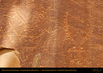 Fremont Culture Petroglyphs, Anthropomorphs in Headdresses, Fruita Petroglyph Panels, Capitol Reef National Park, South-Central Utah