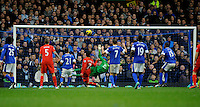 28.10.2012 Liverpool, England. Luis Suarez  of Liverpool scores but the goal which was disallowed during the Premier League game between Everton and Liverpool  from Goodison Park ,Liverpool