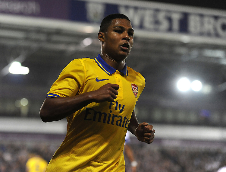 Arsenal's Serge Gnabry<br /> <br /> Photo by Stephen White/CameraSport<br /> <br /> Football - Capital One Cup Third Round - West Bromwich Albion v Arsenal - Wednesday 25th September 2013 - The Hawthorns - West Bromwich<br />  <br /> &copy; CameraSport - 43 Linden Ave. Countesthorpe. Leicester. England. LE8 5PG - Tel: +44 (0) 116 277 4147 - admin@camerasport.com - www.camerasport.com