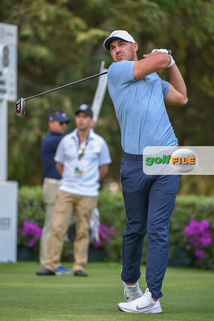 Brooks Koepka (USA) watches his tee shot on 8 during round 1 of the World Golf Championships, Mexico, Club De Golf Chapultepec, Mexico City, Mexico. 2/21/2019.<br /> Picture: Golffile | Ken Murray<br /> <br /> <br /> All photo usage must carry mandatory copyright credit (© Golffile | Ken Murray)