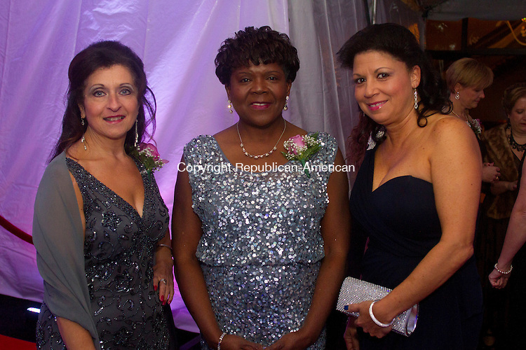 WATERBURY, CT.- 15 NOVEMBER 2014 - 111514JW04 - Rosetta Ferrucci, Alice Smith, and Linda McDuff pose for a photo during Waterbury Hospital's 15th Annual Gala at La Bella Vista Saturday evening.<br /> Jonathan Wilcox Republican-American