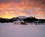 Winter sunset over Mammoth Mountain Ski Area , at Mammoth Lakes in the Eastern Sierra, Mono County, California