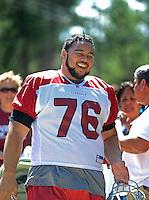 Jul 31, 2009; Flagstaff, AZ, USA; Arizona Cardinals guard (76) Deuce Lutui during training camp on the campus of Northern Arizona University. Mandatory Credit: Mark J. Rebilas-