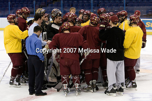 The Eagles practice on Wednesday, April 4, 2007, at the Scottrade Center in St. Louis, Missouri, prior to their Thursday 2007 Frozen Four Semi-Final.