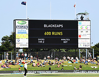 24th November 2019; Mt Maunganui, New Zealand;  Scoreboard on day 4 of the 1st international cricket test match, New Zealand versus England at Bay Oval, Mt Maunganui, New Zealand.  - Editorial Use
