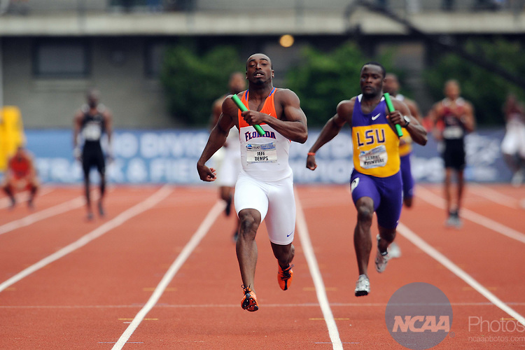 12 JUNE 2010: Jeff Demps of the University of Florida crosses the finish line to win the Men's 4 X 100 meter relay during the Division I Men's and Women's Track and Field Championship held at Hayward Field on the University of Oregon campus in Eugene, OR. The Florida team won the race with a time of 39.04. Steve Dykes/NCAA Photos