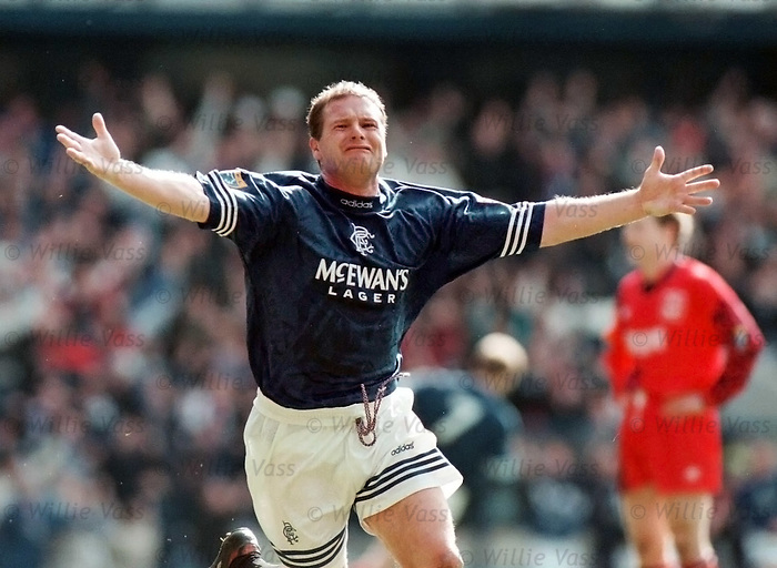 Gazza celebrates scoring his second of three goals in the match against Aberden to seal the league championship for Rangers