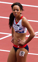 03 AUG 2012 - LONDON, GBR - Katarina Johnson-Thompson (GBR) of Great Britain recovers after her 100m hurdles heat in the women's heptathlon at the London 2012 Olympic Games athletics in the Olympic Stadium in the Olympic Park in Stratford, London, Great Britain (PHOTO (C) 2012 NIGEL FARROW)