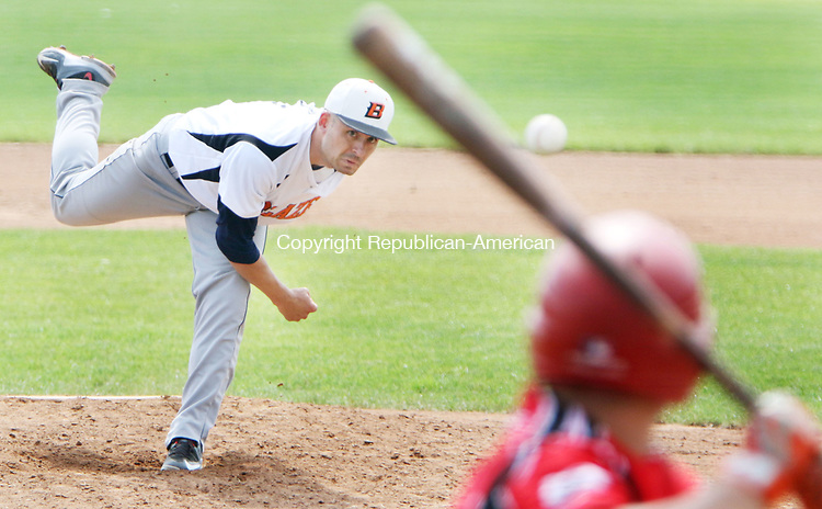 TORRINGTON CT. 04 Augusr 2017-080417SV06-#11 Justin Koutros of Watertown Blaze pitches in the 2nd inning against North Haledon Reds during the Stan Musial tournament in Torrington Friday.<br /> Steven Valenti Republican-American