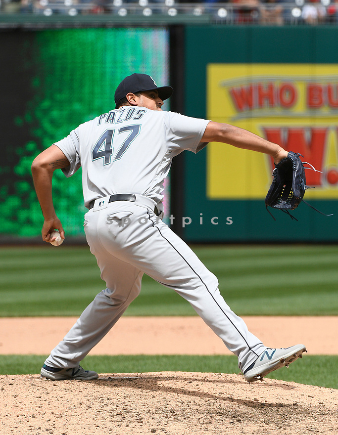 WASHINGTON DC - May 25, 2017: James Pazos #47 of the Seattle Mariners during a game against the Washington Nationals on May 25, 2017 at Nationals Park in Washington DC. The Mariners beat the Nationals 4-2.(Chris Bernacchi/SportPics)