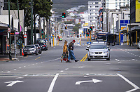 Corner of Taranaki Street and Courtenay Place at 1.20pm on Thursday. Wellington CBD during quarantine lockdown for COVID19 pandemic in Wellington, New Zealand on Thursday, 2 April 2020. Photo: Dave Lintott / lintottphoto.co.nz