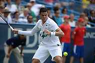 Washington, DC - August 3, 2014: Milos Raonic of Canada steps to return the ball in the Citi Open final, August 3, 2014. Raonic won in straight sets over fellow Canadian Vasek Pospisil,   (Photo by Don Baxter/Media Images International)