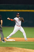 Louisville Bats second baseman Jermaine Curtis (1) attempts to turn a double play during a game against the Buffalo Bisons on June 20, 2016 at Coca-Cola Field in Buffalo, New York.  Louisville defeated Buffalo 4-1.  (Mike Janes/Four Seam Images)