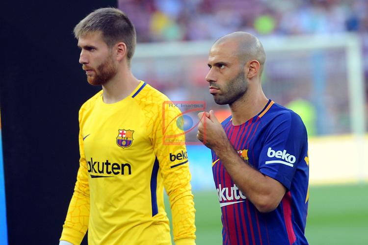 52e Trofeu Joan Gamper.<br /> FC Barcelona vs Chapecoense: 5-0.<br /> Ortala &amp; Mascherano.