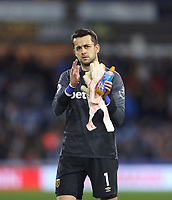 West Ham United's Lukasz Fabianski acknowledges the fans at the end of the game<br /> <br /> Photographer Rob Newell/CameraSport<br /> <br /> The Premier League - Huddersfield Town v West Ham United - Saturday 10th November 2018 - John Smith's Stadium - Huddersfield<br /> <br /> World Copyright © 2018 CameraSport. All rights reserved. 43 Linden Ave. Countesthorpe. Leicester. England. LE8 5PG - Tel: +44 (0) 116 277 4147 - admin@camerasport.com - www.camerasport.com