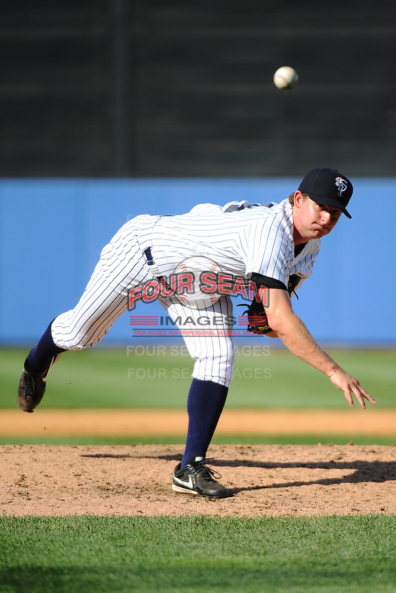 Staten Island Yankees pitcher Sam Agnew-Wieland (34) during game against the Connecticut Tigers at Richmond County Bank Ballpark at St.George on July 7, 2013 in Staten Island, NY.  Staten Island defeated Connecticut 6-2.  (Tomasso DeRosa/Four Seam Images)