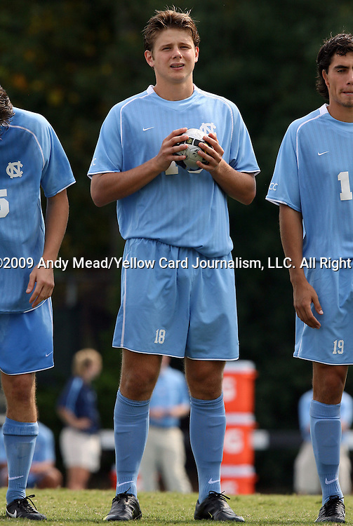 06 September 2009: UNC's Kirk Urso. The University of North Carolina Tar Heels defeated the Evansville University Purple Aces 4-0 at Fetzer Field in Chapel Hill, North Carolina in an NCAA Division I Men's college soccer game.