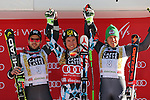 Autrian Marcel HIRSCHER wins the FIS Alpine Ski World Cup Men's Giant Slalom in Alta Badia, on December 18, 2016. French Mathieu FAIVRE is second and third place is for Italian Florian EISATH.