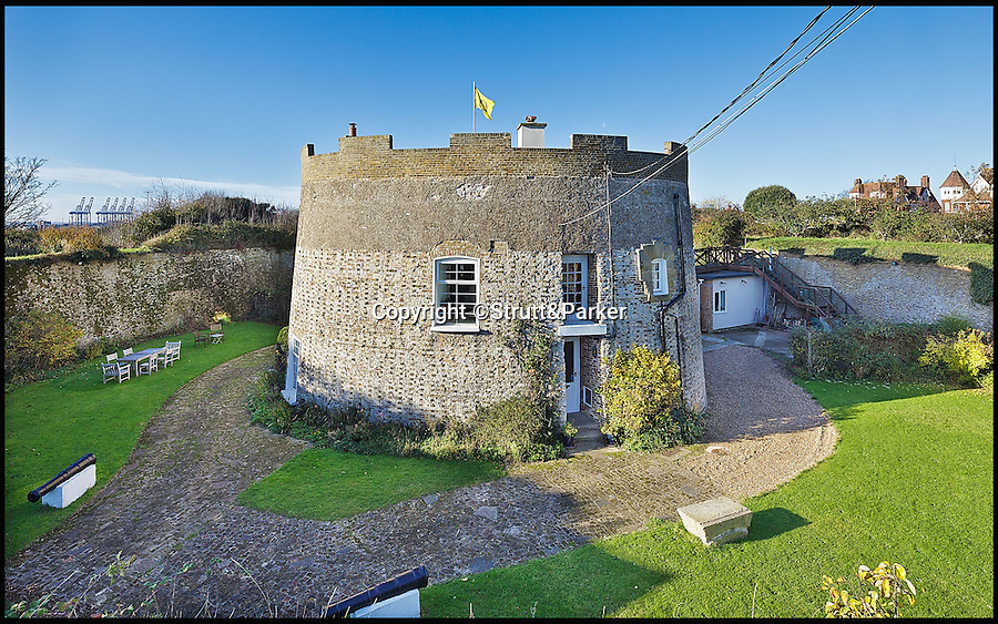 BNPS.co.uk (01202 558833)<br /> Pic: Strutt&Parker/BNPS<br /> <br /> Safe as houses...<br /> <br /> A stunning 207-year-old fortress designed to keep out invaders is now a welcoming home on the market for £750,000.<br /> <br /> The Q Tower, a Martello tower in Felixstowe, Suffolk, retains many of its defensive features, including a dry moat surrounding it with a 4.5metre-high wall, a drawbridge and even a pair of cannons - perfect for deterring unwanted visitors.<br /> <br /> And from the top the striking Grade II listed building the owners will be able to enjoy stunning panoramic views along the coastline and out to sea.<br /> <br /> The tower was built in 1810 and was an important element in the defence of the south-east coast against the threat of invasion during the Napoleonic War.