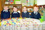 Joshua Switzer, Jamie O'Donoghue, Maggie Hickey and Franek Janiuk, pictured during their first day at Glenflesk National School on Wednesday morning...................................................................................................