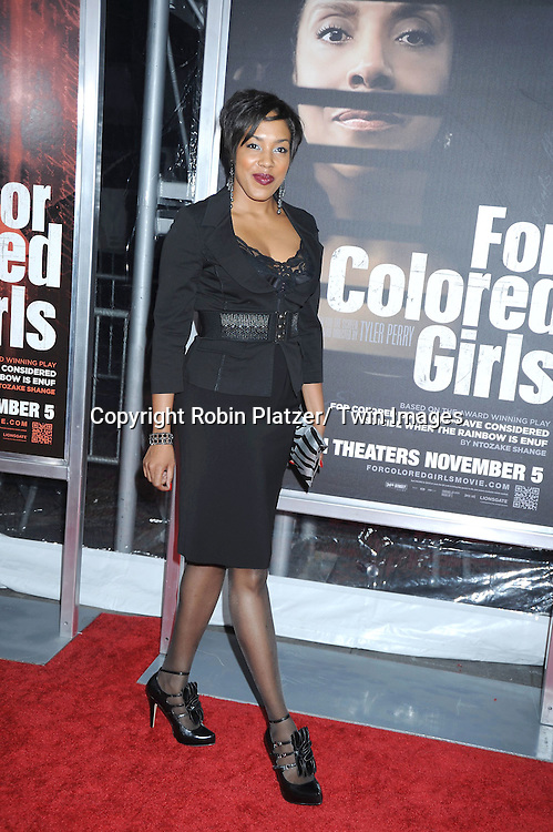 "Deidre Aziz attending The New York Special Screening.of ""For Colored Girls"" at The Ziegfeld Theatre on October 25, 2010 in New York City"