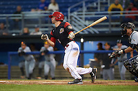 Batavia Muckdogs catcher David Gauntt (46) at bat during a game against the West Virginia Black Bears on June 28, 2016 at Dwyer Stadium in Batavia, New York.  Batavia defeated West Virginia 3-1.  (Mike Janes/Four Seam Images)