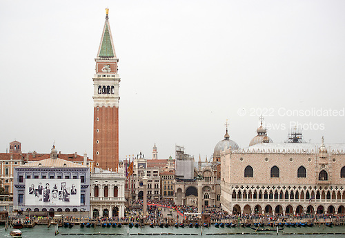 The Campanile, the tallest bell tower in Venice, Italy rises out of the Piazza San Marco on Sunday, October 27, 2013 from the cruise ship Celebrity Equinox as it approached the city.<br /> Credit: Ron Sachs / CNP