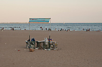 Garbage fill bins on Coney Island beach in Brooklyn, New York, Sunday July 31, 2011. Groomed and replenished on a regular basis by the city, Coney Island beach is 4km long and open to all without restriction, and there is no charge for use.