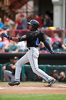 Akron RubberDucks center fielder Greg Allen (4) hits a single during a game against the Erie SeaWolves on August 27, 2017 at UPMC Park in Erie, Pennsylvania.  Akron defeated Erie 6-4.  (Mike Janes/Four Seam Images)