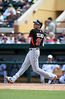 Miami Marlins outfielder Christian Yelich (21) during a Spring Training game against the Detroit Tigers on March 25, 2015 at Joker Marchant Stadium in Lakeland, Florida.  Detroit defeated Miami 8-4.  (Mike Janes/Four Seam Images)