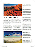 "Blaine Harrington's March 2016 Shutterbug Magazine column ""On the Road"" titled ""Dust Never Sleeps"" discusses cleaning camera sensors and backing up photos on location."