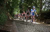 eventual winner J&eacute;r&ocirc;me Baugnies (BEL/Wanty-Groupe Gobert) leading over the cobbles<br /> <br /> 55th Vlaamse Druivenkoers 2015