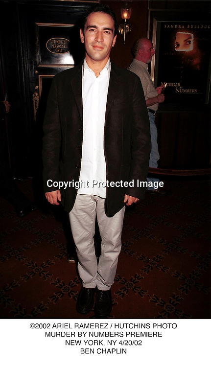 ©2002 ARIEL RAMEREZ / HUTCHINS PHOTO.MURDER BY NUMBERS PREMIERE.NEW YORK, NY 4/20/02.BEN CHAPLIN