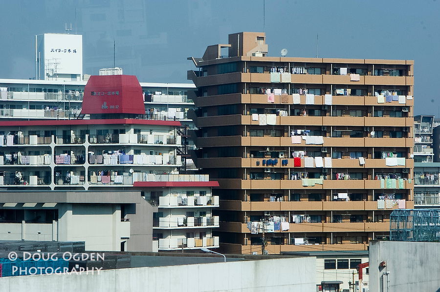 Airing out the futons and laundry, Tokyo, Japan