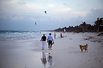 TULUM, MEXICO - APRIL 29, 2009: A couple walks down the bech on April 29, 2009 in Tulum, Mexico.  (PHOTOGRAPH BY MICHAEL NAGLE)