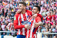Atletico de Madrid Lucas Hernandez and Angel Correa celebrating a goal during La Liga match between Atletico de Madrid at Wanda Metropolitano in Madrid, Spain. April 15, 2018. (ALTERPHOTOS/Borja B.Hojas) /NortePhoto.com NORTEPHOTOMEXICO