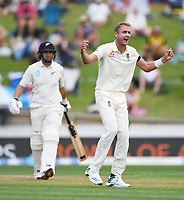 29th November 2019, Hamilton, New Zealand;  Stuart Broad appeals unsuccessfully for the dismissal of Taylor on day 1 of the 2nd international cricket test match between New Zealand and England at Seddon Park, Hamilton, New Zealand. Friday 29 November 2019