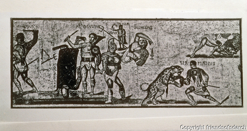 Italy: Rome--The Gladiators, Mosaic. Galleria Borhgese, Rome.