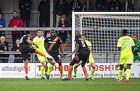 Curtis Weston of Barnet scores to equalise during the EFL Sky Bet League 2 match between Barnet and Colchester United at The Hive, London, England on the 17th September 2016. Photo by Liam McAvoy.