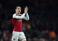 Héctor Bellerín of Arsenal applauds the fans during the UEFA Europa League round of 16 2nd leg match between Arsenal and AC Milan at the Emirates Stadium, London, England on 15 March 2018. Photo by Vince  Mignott / PRiME Media Images.