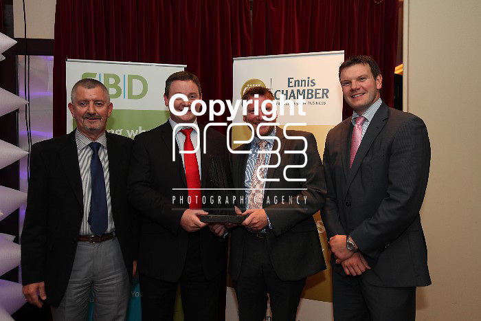 Jim Gallagher-Energia, Tommy Corbett- Carey Corbett, Donal Carey and James McInerney - FBD pictured at the FBD Clare Business Excellence Awards 2012 in the Auburn Lodge on Friday night. Pic. Brian Arthur/ Press 22.