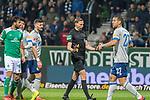 08.03.2019, Weser Stadion, Bremen, GER, 1.FBL, Werder Bremen vs FC Schalke 04, <br /> <br /> DFL REGULATIONS PROHIBIT ANY USE OF PHOTOGRAPHS AS IMAGE SEQUENCES AND/OR QUASI-VIDEO.<br /> <br />  im Bild<br /> <br /> Martin Petersen (Schiedsrichter / Referee)  Jeffrey Bruma (FC Schalke 04 #27)<br /> <br /> <br /> Foto &copy; nordphoto / Kokenge