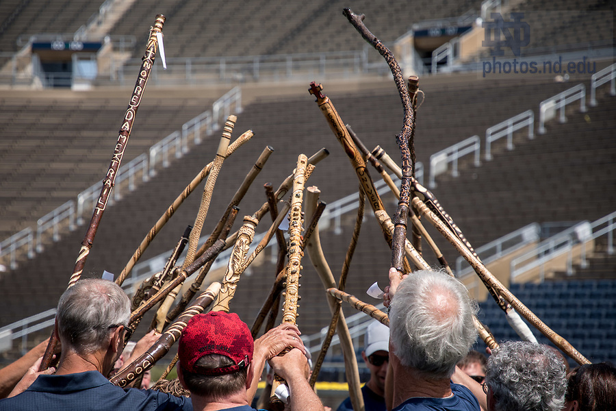 August 26, 2017; ND Trail day 13: Core pilgrims' walking sticks (Photo by Matt Cashore/University of Notre Dame)