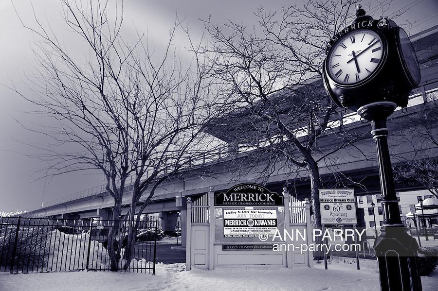 Welcome to Merrick Sign Clock Train Overpass