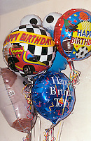 Bunch of inflated birthday balloons.  Brooklyn Center  Minnesota USA