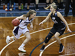 SIOUX FALLS, SD: MARCH 19:  Grace Carter #35 drives past Stonehill defender Lauren Wolosik #24 of Indiana (PA) during their game at the 2018 Division II Women's Elite 8 Basketball Championship at the Sanford Pentagon in Sioux Falls, S.D. (Photo by Dick Carlson/Inertia)