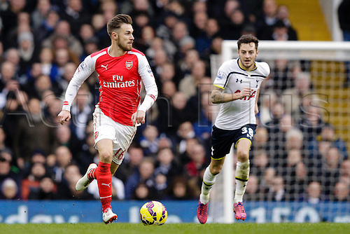 07.02.2015.  London, England. Barclays Premier League. Tottenham Hotspur versus Arsenal.  Arsenal's Aaron Ramsey in action